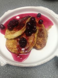 healthy, easy banana pancakes recipe with maple syrup frozen berries