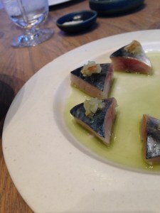 108 review starter cured mackerel with gooseberries and spruce oil