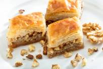 Baklava with pistachios and walnuts.