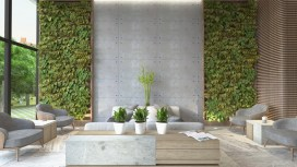 What would be a cold modern room with concrete is made to feel natural with the greenery paneled walls and potted plants