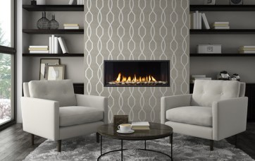 Pattern on the fireplace works well in a sitting room or a dining area