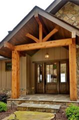 Beautiful wood beams accent this entryway, giving an air of grandeur