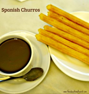 Churros with hot chocolate in madrid spain