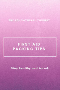 purple background first aid packing tips