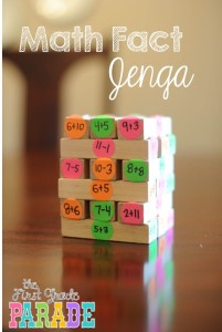 Math Fact Jenga Game photo from The First Grade Parade, Practice Academic Skills while Traveling, www.theeducationaltourist.com