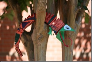art paper chameleon in tree from smART class, Travel Activities for KIDS using paper, www.theeducationaltourist.com