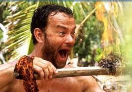 Tom Hanks in Castaway with fire, Practice Academic Skills while Traveling, www.theeducationaltourist.com