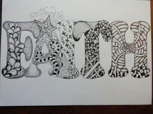 The word faith filled in with zentangle designs, Mixed Media Activities for Traveling Kids, www.theeducationaltourist.com
