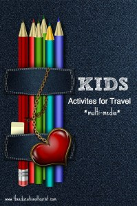 Colored pencils with denim and a heart, Mixed Media Activities for Traveling Kids, www.theeducationaltourist.com