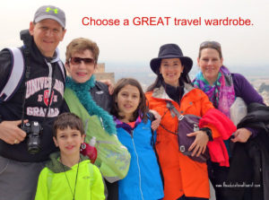 Family in bright colors at Alhambra, Spain says Choose a GREAT travel wardrobe www.theeducationaltourist.com