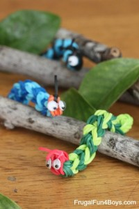 Rainbow loom caterpillars from Frugal Fun for Boys, Hotel Activities for KIDS, www.theeducationaltourist.com