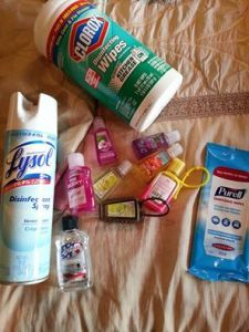 Cleaning wipes and lysol spray, Airplanes and Germs, www.theeducationaltourist.com