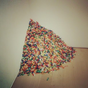 pile of hard candy as art - untitled piece by Felix Gonzales-Torres,