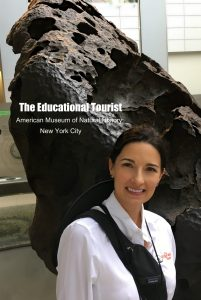 The Educational Tourist with meteor at American Natural History Museum in NYC, Museum Visit TIPS, www.theeducationaltourist.com