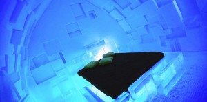 ice hotel room photo from Quebec's hotel de glace, unusual hotels with kids