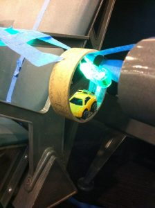 art creation with flashlight, toy car, and painter's tape, Choose the right toy, www.theeducationaltourist.com