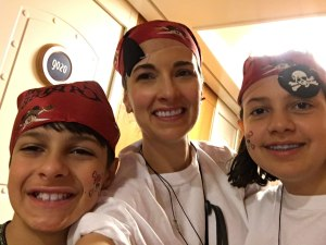 The Educational Tourist and kids on pirate night on Disney cruise