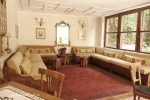 indoor sitting area with Turkish rug, Sari Konak Hotel in Istanbul, www.theeducationaltourist.com