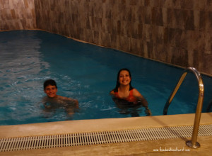 boy and girl in indoor swimming pool, Sirkeci Mansion Istanbul, www.theeducationaltourist.com