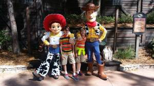 Boys with Woody and Jesse at Disney World, Disney Made Easy, www.theeducationaltourist.com