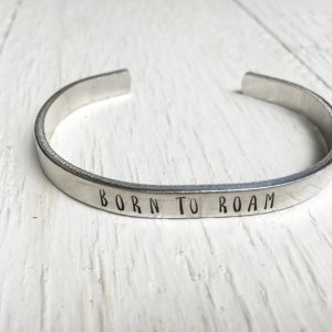 Born to roam cuff bracelet from StudioIlus on Etsy, Gift ideas for lady traveler, www.theeducationaltourist.com