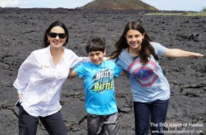 The Educational Tourist and kids on lava in Hawaii, Flight delays, www.theeducationaltourist.com