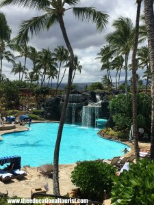 Pool and waterfall, Hilton Waikaloa Village, www.theeducationaltourist.com