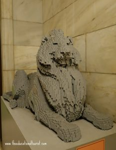 The New York City Lion out of legos, New York Public Library Visit, www.theeducationaltourist.com