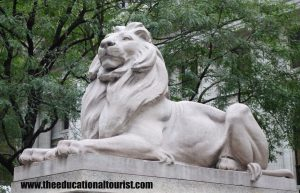 Lion statue in front of New York Public Library, New York Public Library Visit, www.theeducationaltourist.com