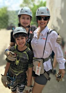 The Educational Tourist and kids geared up for zip line, www.theeducationaltourist.com