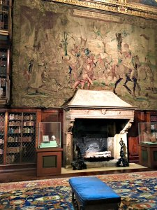 Tapestry and fireplace in Morgan Library, Morgan Library, NYC - Visit with KIDS, www.theeducationaltourist.com