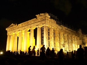 Parthenon in Athens at night