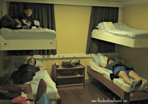 bedroom on Greek ferry boat, The Educational Tourist and kids