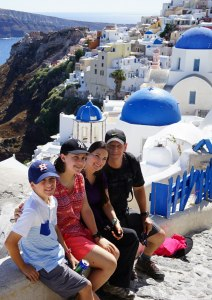 The Educational Tourist and family in Oia, Santorini Greece