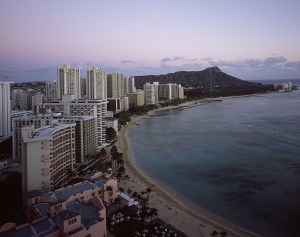 Oahu city with Diamond Head in the background