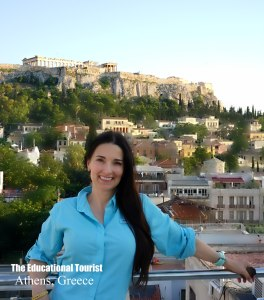 The Educational Tourist in front of Acropolis in Athens, Greece