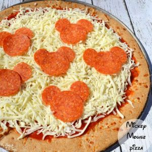 pepperoni pizza with mickey mouse shaped pepperoni, photo from My Boys and their Toys