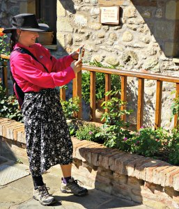 The Educational Tourist wearing a skirt in a monastery in Meteora Greece