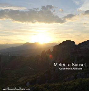 Sunset over the meteora mountains in Kalamabaka, Greece