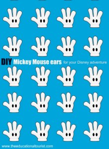 blue background with rows of Mickey Mouse gloves that says DIY Mickey Mouse ears or your Disney adventure, www.theeducationaltourist.com