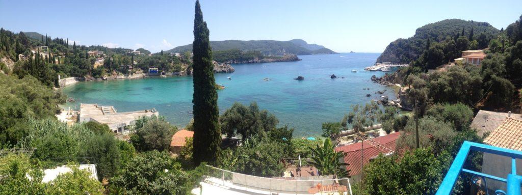 beach scene in Corfu