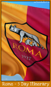 Rome symbol on flag, Rome 5 day itinerary