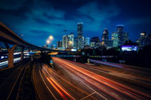 evening skyline and freeway in houston, fun things to do in houston
