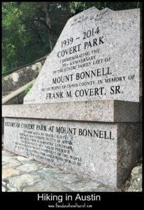 marker at base of Mount Bonnell
