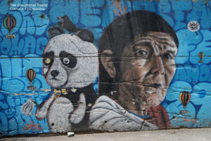 blue street art comuna 13, panda and old woman
