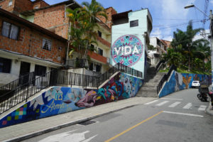 street in comuna 13 with art