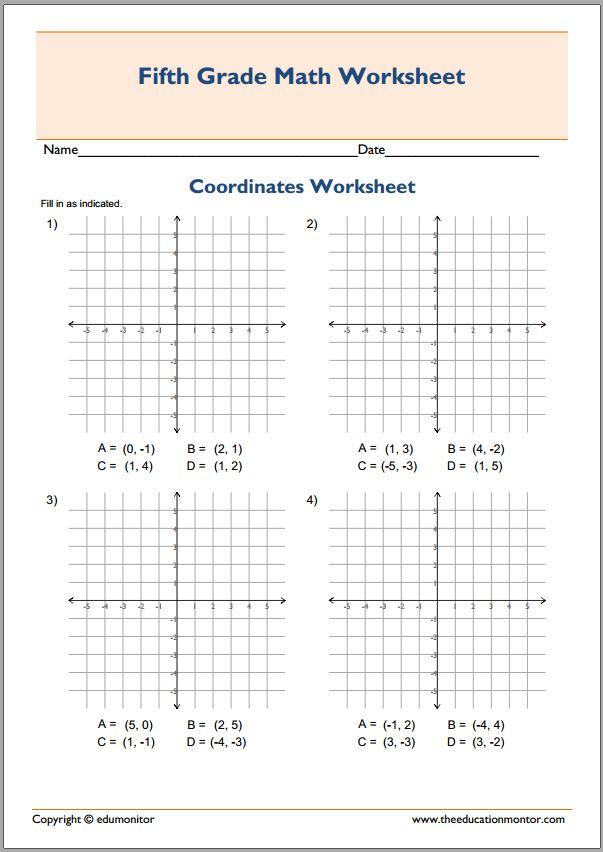 Plotting Coordinates In All 4 Quadrants Worksheets