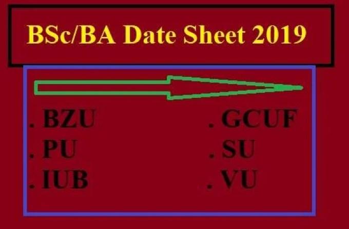 ba part 1 date sheet 2018 punjab university