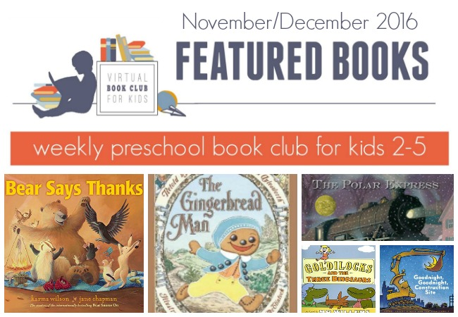 November Featured Book List for virtual Book Club for Kids