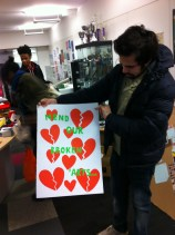 Mostafa checks out the hand-made-with-love card